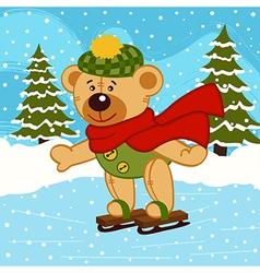 Teddy bear on ice skates vector