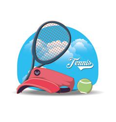 Tennis sport cap icons vector