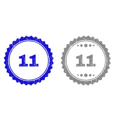textured 11 scratched stamp seals with ribbon vector image