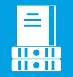 Three books icon white vector