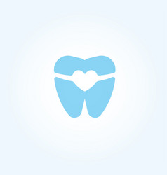 tooth silhouette with braces and invisalign heart vector image