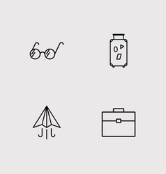 Travel and tourism outline icons set vector