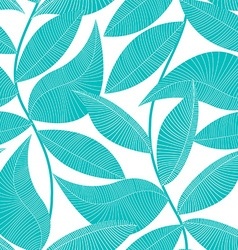 Turquoise and white tropical leaf seamless pattern vector image