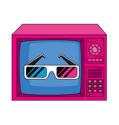 Tv with glasses nineties retro style isolated vector