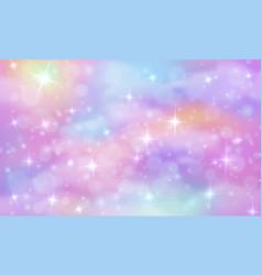 unicorn fantasy background rainbow sky vector image