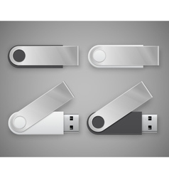 Usb flash drive with turned plug cap with place vector