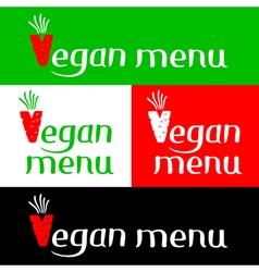 Vegan menu hand drawing lettering vector