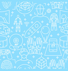 virtual reality seamless pattern in line style vector image