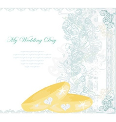 Wedding Invitation card with rings vector
