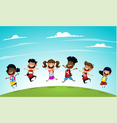 welcome back to school cute school kids vector image