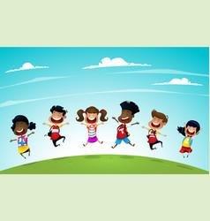 Welcome back to school cute school kids vector