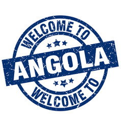 Welcome to angola blue stamp vector