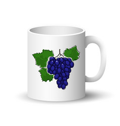 white mug with grapes vector image
