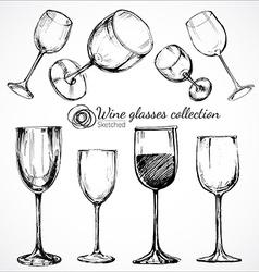 Wine glasses - sketch vector