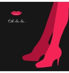 Woman legs silhouette in pink vector image
