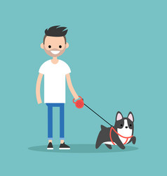 Young smiling bearded man walking the dog flat vector