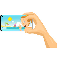 young woman make selfie photo with mobil phone fro vector image