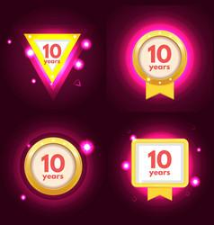 anniversary ten logo set vector image