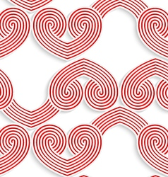 Colored 3D red swirly striped hearts vector image vector image