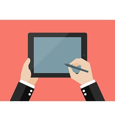 Hand writing on blank screen of tablet vector image vector image