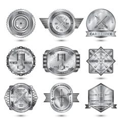 Repair Workshop Metal Emblems Set vector image vector image