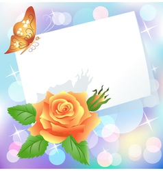 Rose and paper vector image