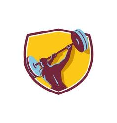 Weightlifter swinging barbell rear crest retro vector