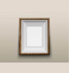 wooden frame for photos or paintings on wall vector image vector image