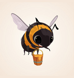 happy smiling flying bee character mascot vector image vector image