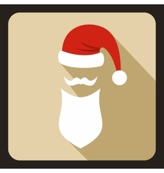 Hat with pompom and long beard of Santa Claus vector image vector image