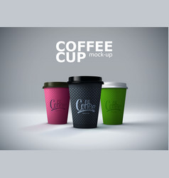paper coffee cups mockup vector image