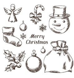 Set of Merry Christmas hand drawn icons and vector image