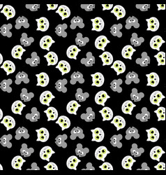 set of seamless pattern with cat and mouse vector image vector image