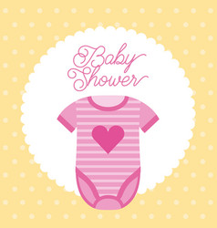 baby shower pink clothes heart decoration vector image