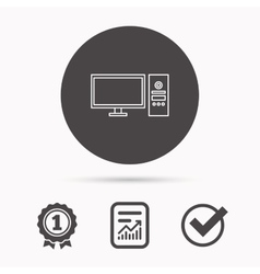 Computer PC icon Widescreen display sign vector image