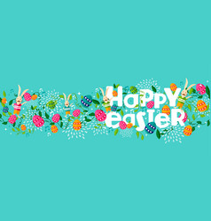 happy spring easter holiday web banner with bunny vector image vector image