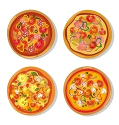 Set of flat hot pizza icons Pizza isolated on vector image