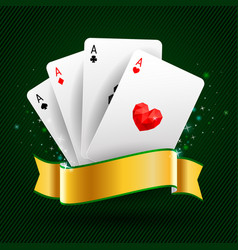 set of four aces cards playing card suits vector image vector image