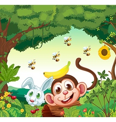 A forest with happy animals vector image vector image