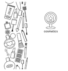 Banner vertical make up and cosmetics set vector image vector image