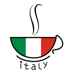coffee cup with the italian flag vector image vector image