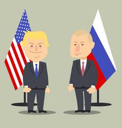 donald trump and vladimir putin standing together vector image