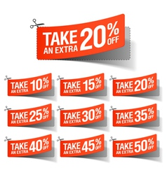 Take an Extra Sale coupons vector image vector image