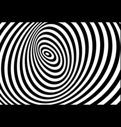 3d twisted circle black and white optical illusion vector