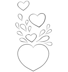 adult coloring bookpage a group hearts vector image
