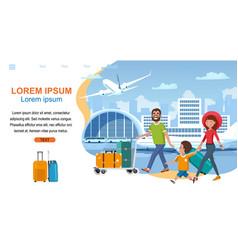 Airline company cartoon website template vector