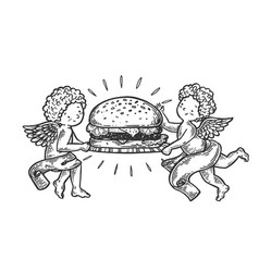 angels with hamburger engraving vector image
