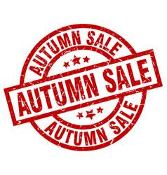 Autumn sale round red grunge stamp vector