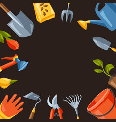 Background with garden tools and equipment vector