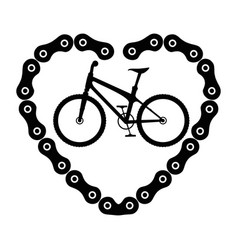 Bicycle vehicle with heart chain vector